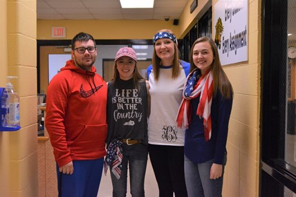 Students dressed in red, white, and blue