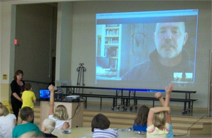 Cartmell 3rd Graders Skyping with Author/Illustrator Paul Owen Lewis.