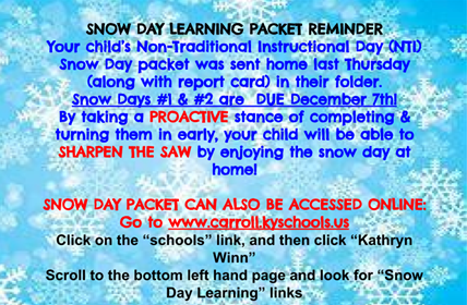Snow Day Learning Packet Reminder